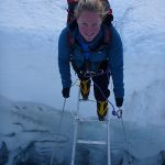 Crevasse crossing in Khumbu Icefall